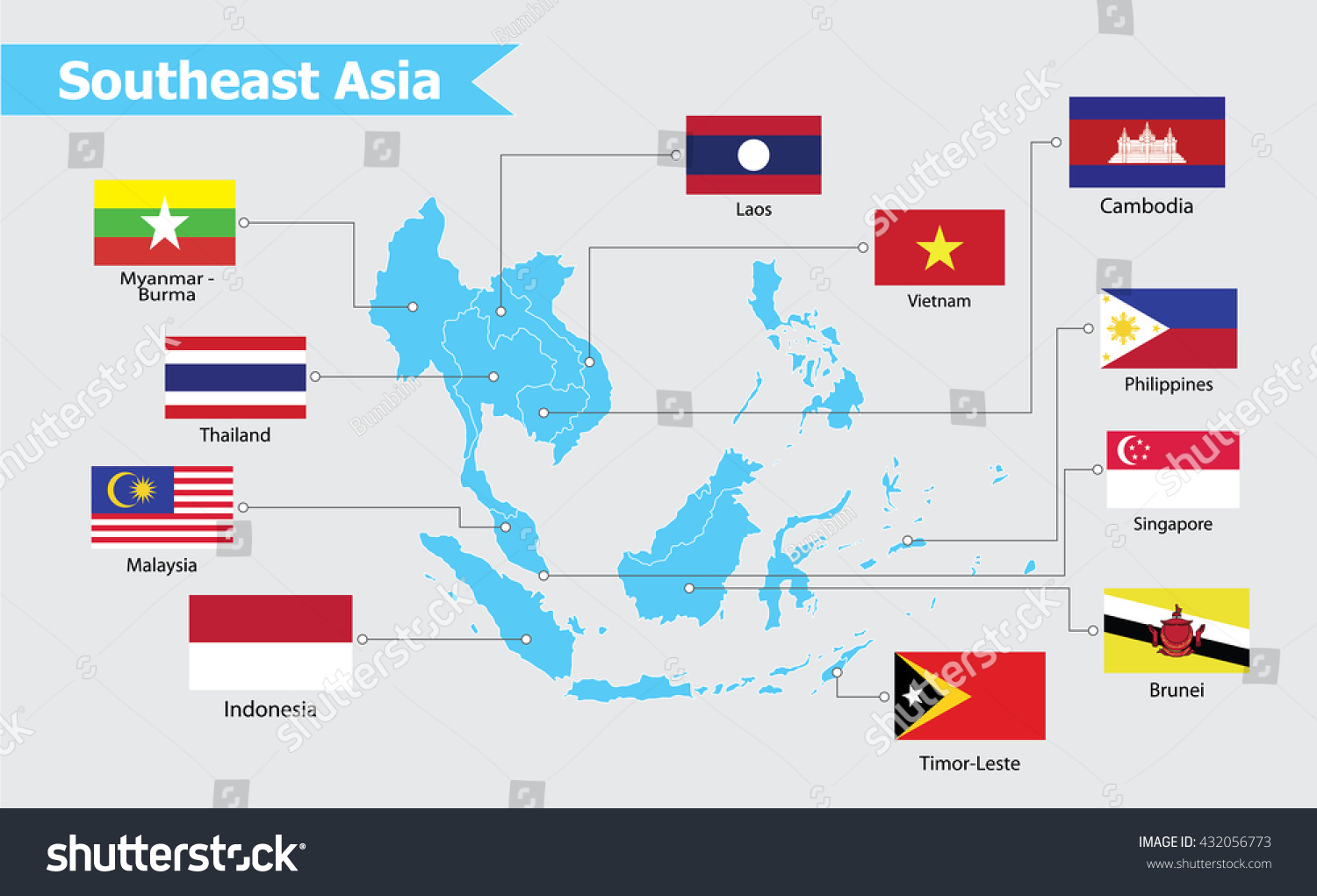 Southeast asia map vector illustration vector de stock432056773 southeast asia map vector illustration gumiabroncs Images