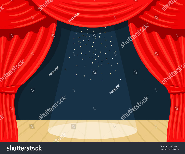 Real open stage curtains - Real Open Stage Curtains Cartoon Theater Theater Curtain With Spotlights Beam And Stars Open Theater