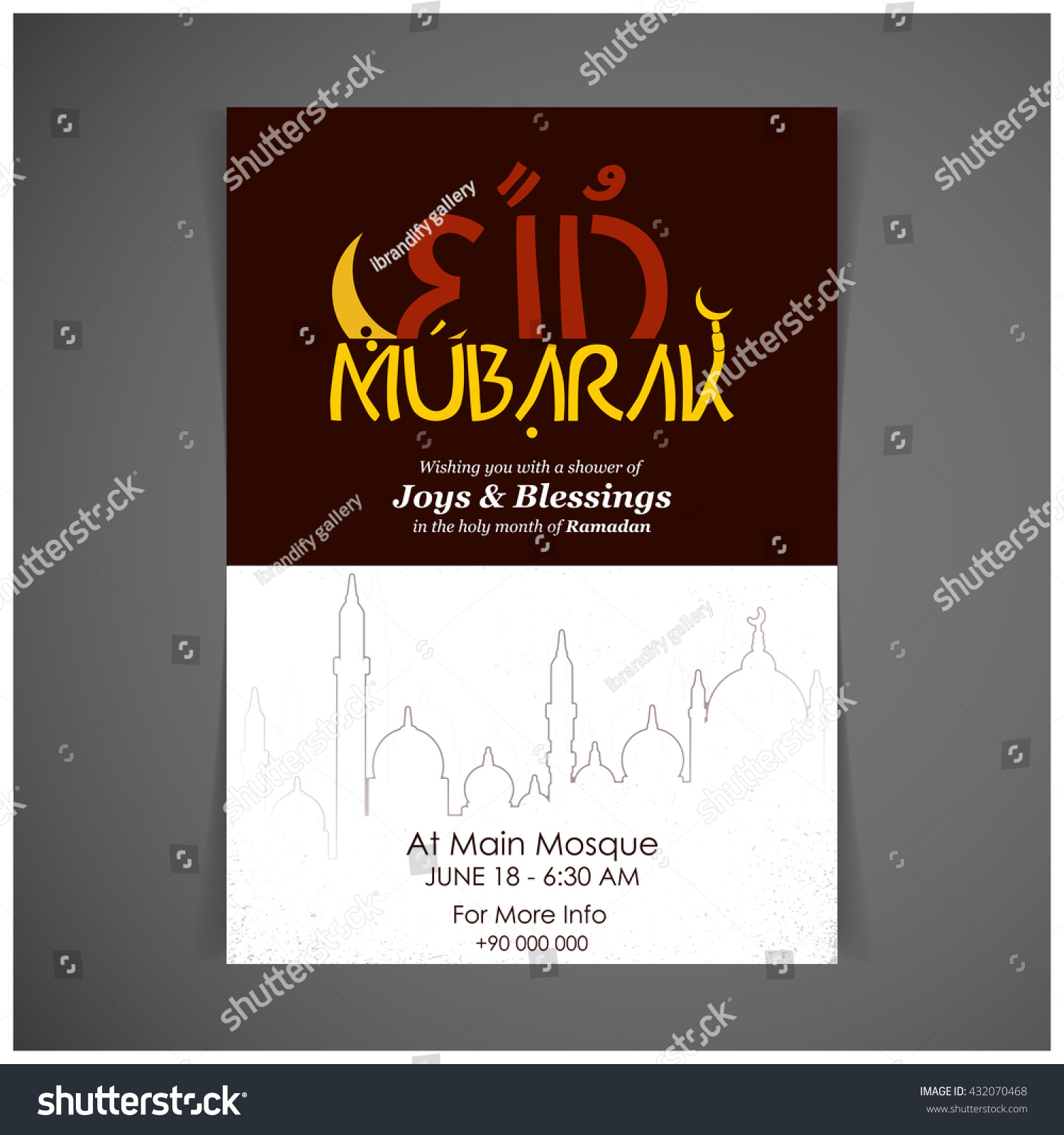 Eid Mubarak Vintage Mosque Background Creative Stock Vector Royalty