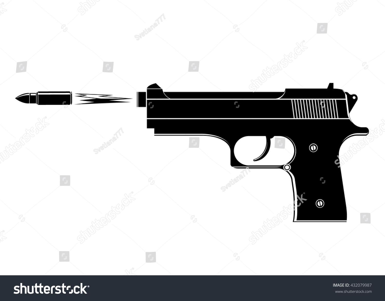 Gun Black Gun Flying Bullet Flame Stock Vector 432079987 ...