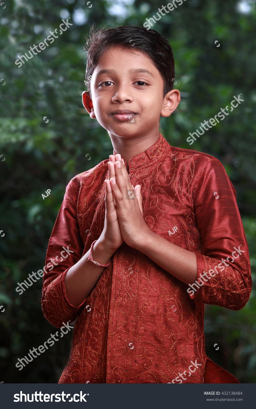 Boy Traditional Indian Greeting Namaste On Stock Photo Edit Now