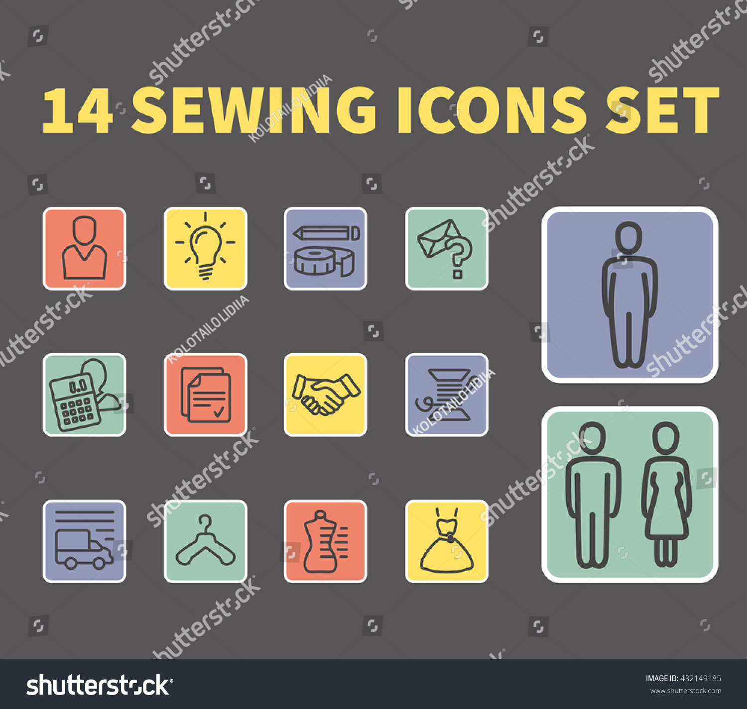 14 Specialized Vector Icons Sewing Workshops Stock Vector Royalty