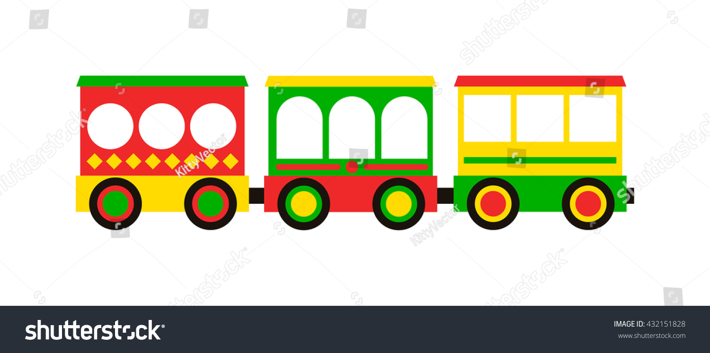cartoon toy train colorful blocks isolated stock vector 432151828