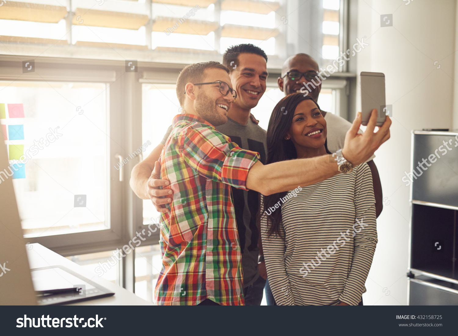 Group Four Diverse Cheerful Coworkers Taking Stock Photo ...  Group Four Dive...