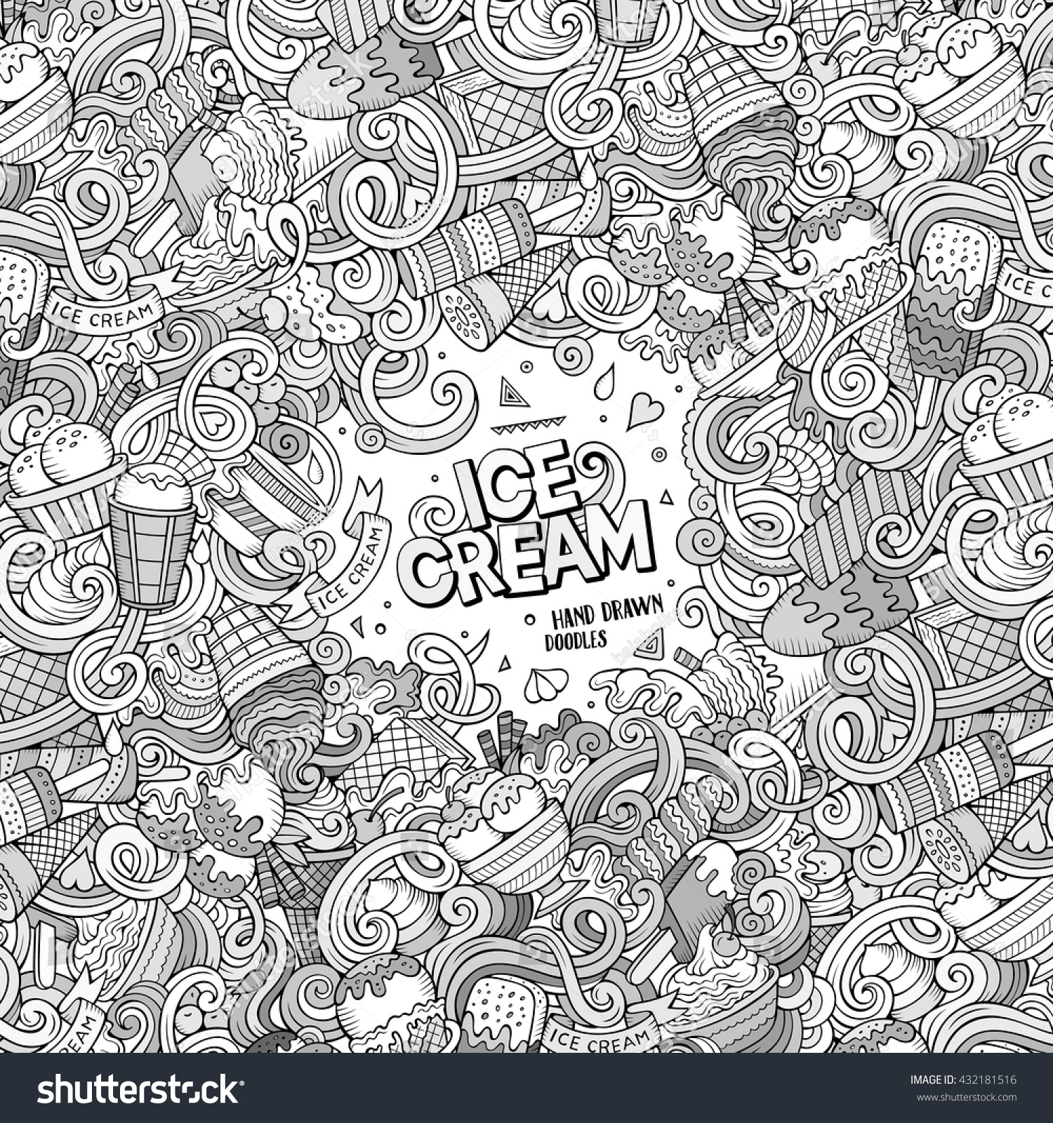 Line Drawing Doodles : Cartoon handdrawn doodles ice cream illustration stock