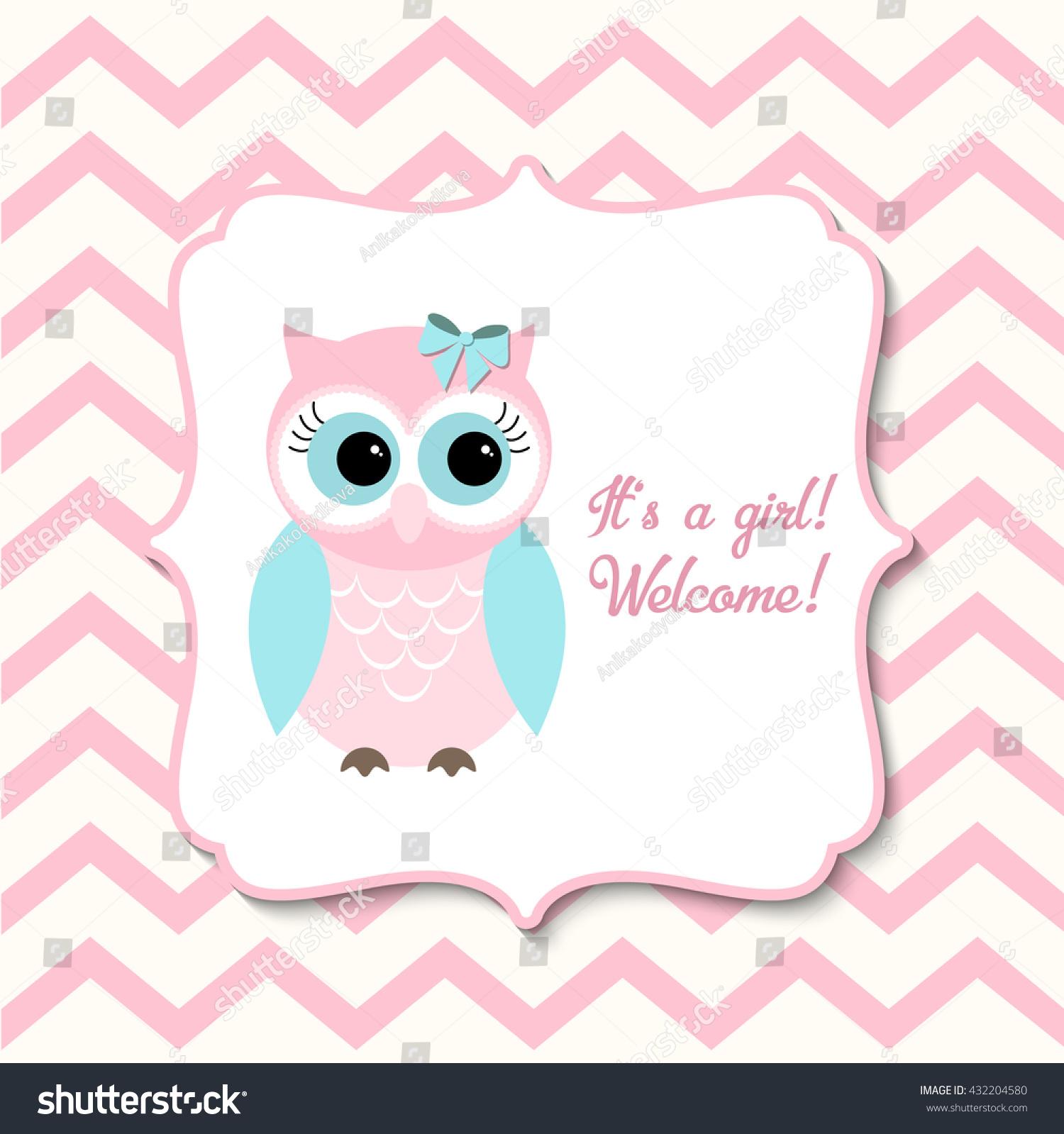 Baby Shower Girls Cute Pink Owl Stock Vector Shutterstock