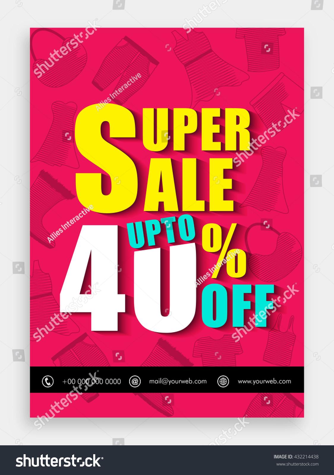 super template banner stock vector  super template banner flyer upto 40% off creative