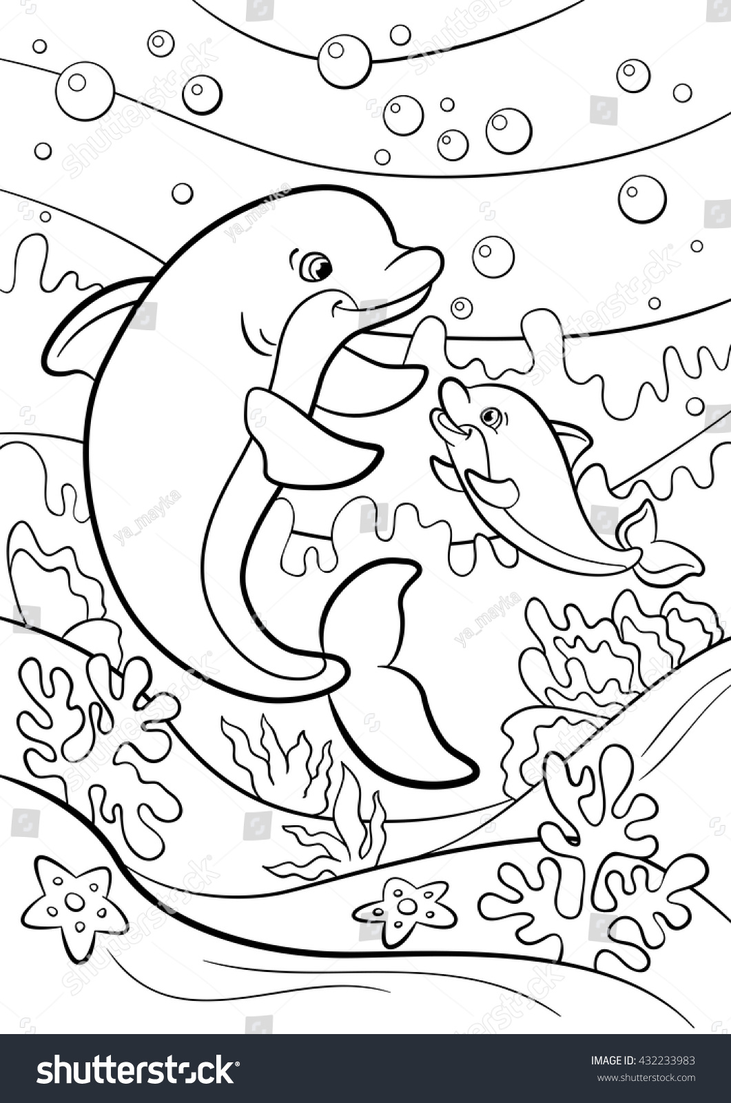 Coloring Pages Marine Wild Animals Mother Dolphin Swims With Her