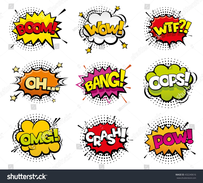 Comic Sound Effects Pop Art Vector 432240616