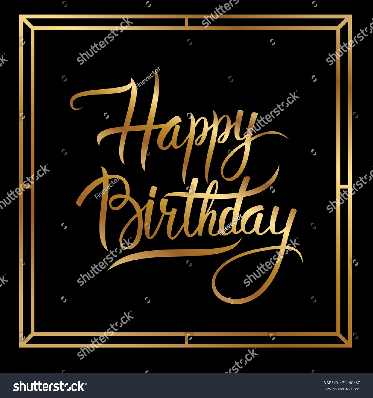 Happy Birthday Greeting Card Gold Lettering Design On Black Background Calligraphic Phrase Vector