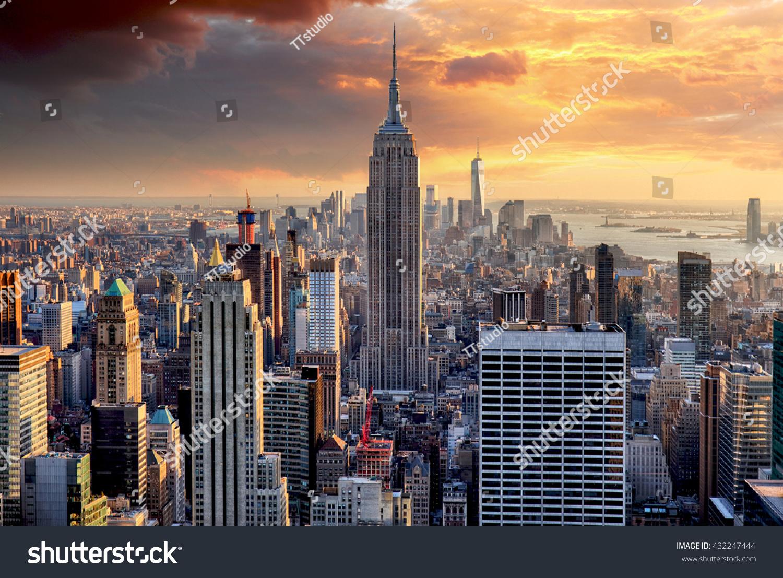 New york skyline sunset usa 432247444 shutterstock new york skyline at sunset usa voltagebd Image collections