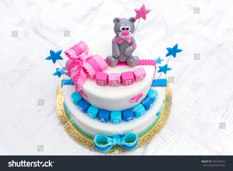 Birthday Cake Baby Boy Girl Twins Stock Photo Edit Now 432254422