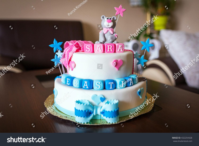 Birthday Cake Baby Boy Girl Twins Stock Photo Edit Now Shutterstock