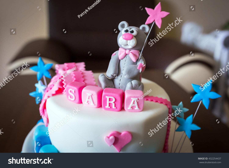 Birthday Cake Baby Boy Girl Twins Stock Photo Royalty Free
