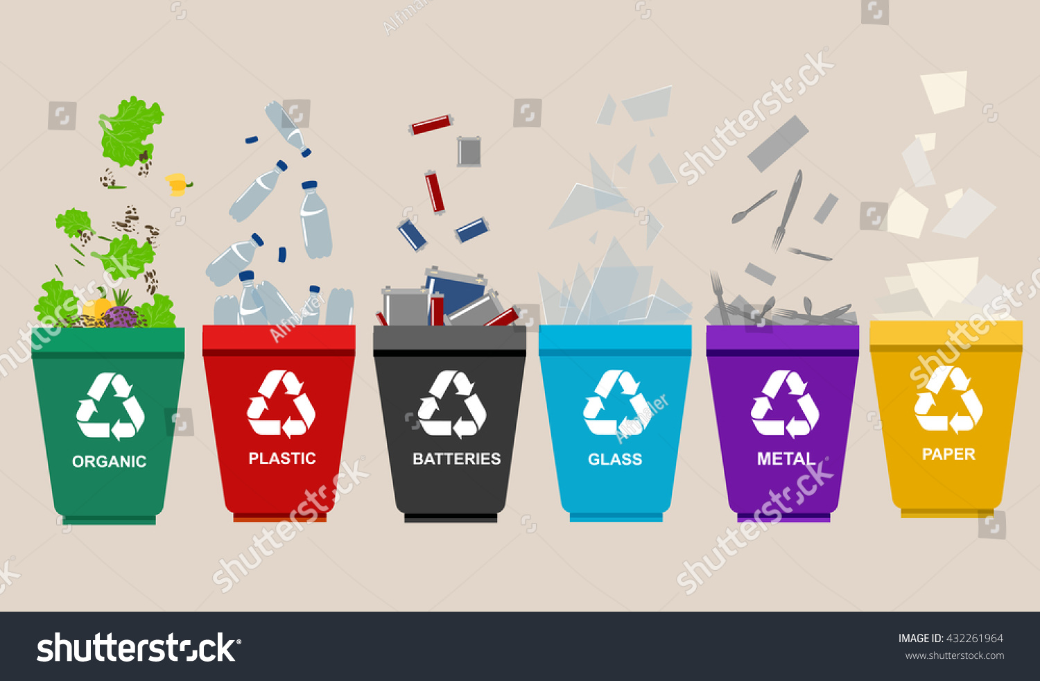 Three Garbage Containers For Separate Types Of Trash Stock ...