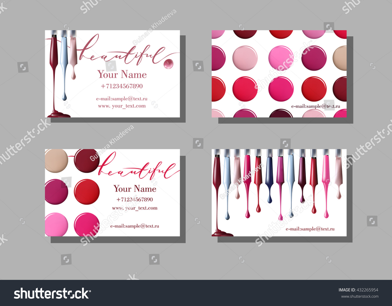 Makeup artist business card vector template em vetor stock 432265954 makeup artist business card vector template with makeup items pattern nail polish fashion and reheart Gallery