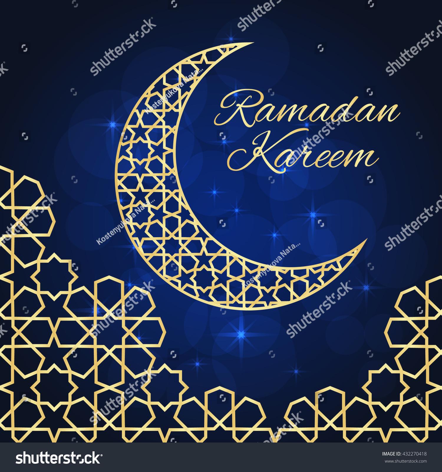 Ramadan greeting card on blue background stock illustration ramadan greeting card on blue background ramadan kareem means ramadan is generous kristyandbryce Image collections