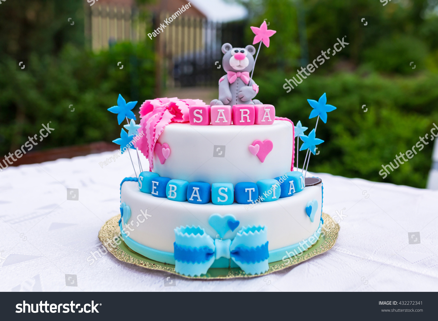 Birthday Cake Baby Boy Girl Twins Stock Photo Edit Now 432272341
