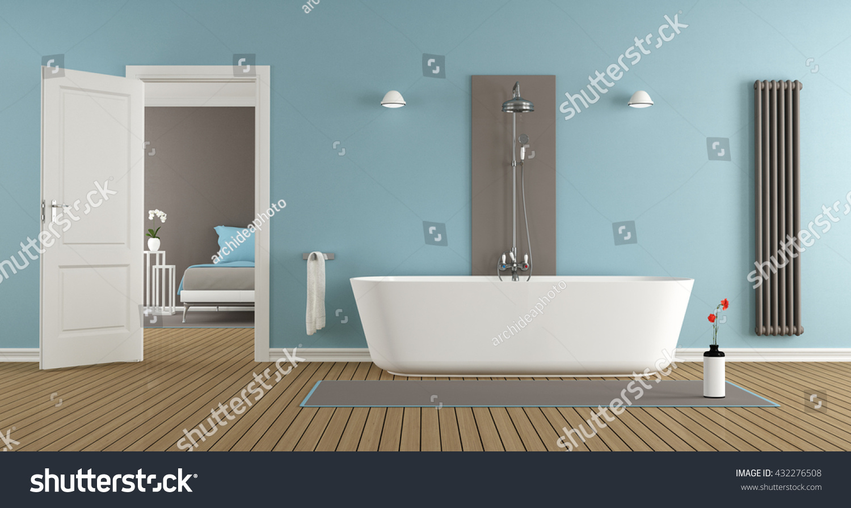 Modern Bathroom Bathtub Master Bedroom 3 D Stock Illustration ...