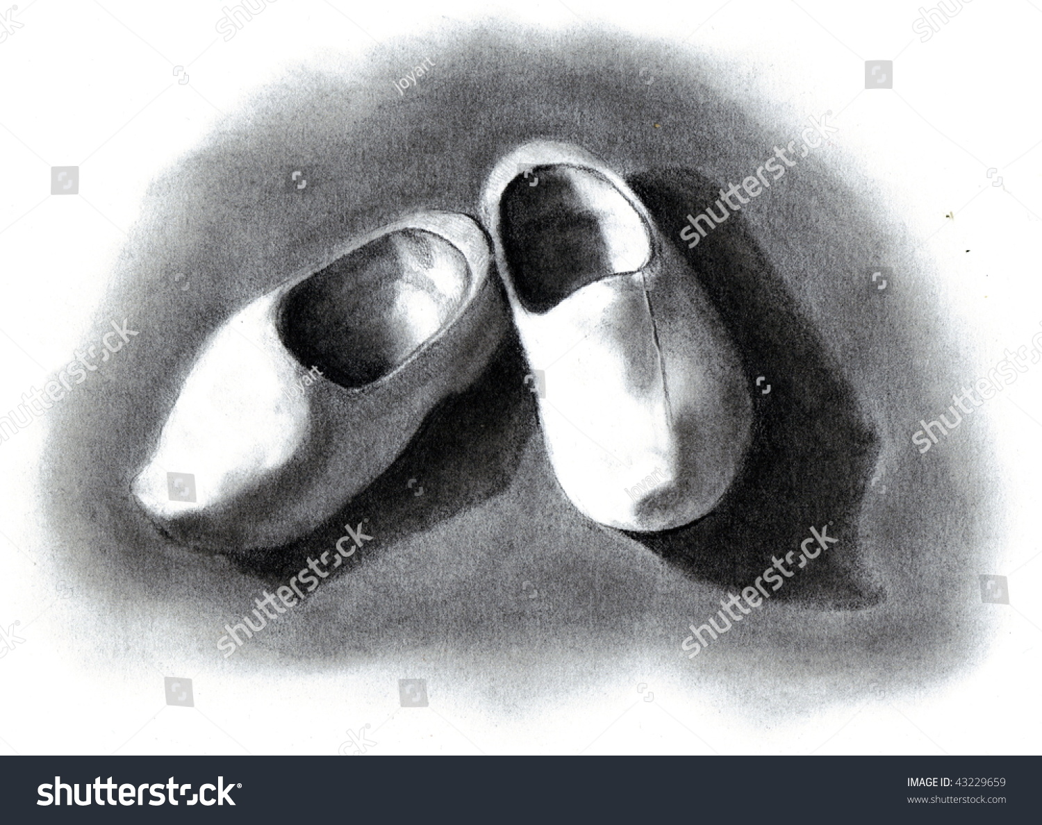 pencil drawing wooden shoes stock illustration 43229659 shutterstock