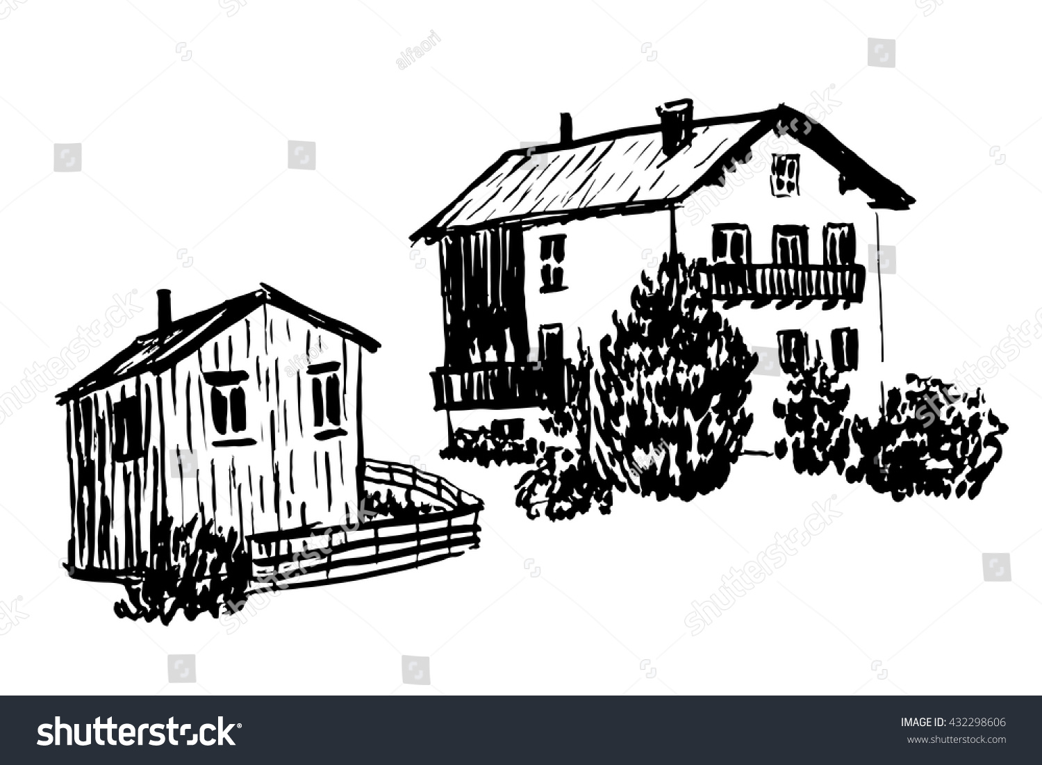 Drawing Elements Set Of Isolates Two Wooden Alpine Huts, The House And Barn  Sketch Hand