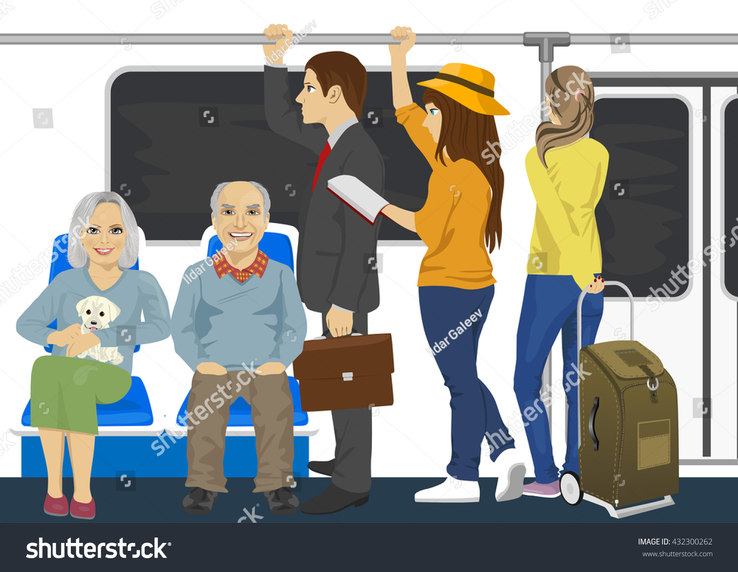 Diverse People Inside Metro Subway Train Stock Vector ...