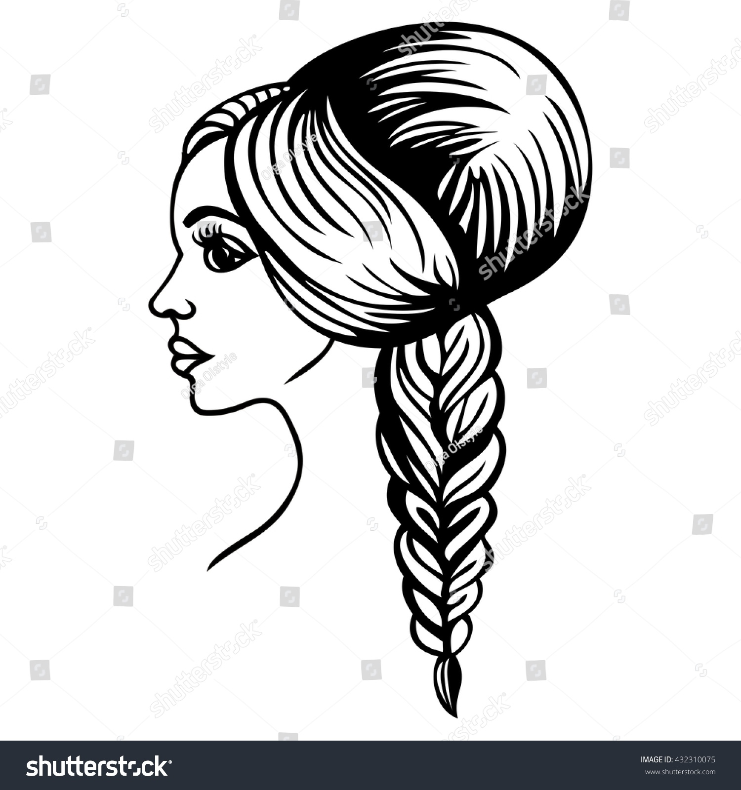 Beautiful Fashionable Wedding Evening Female Hairstyle Stock Vector ...