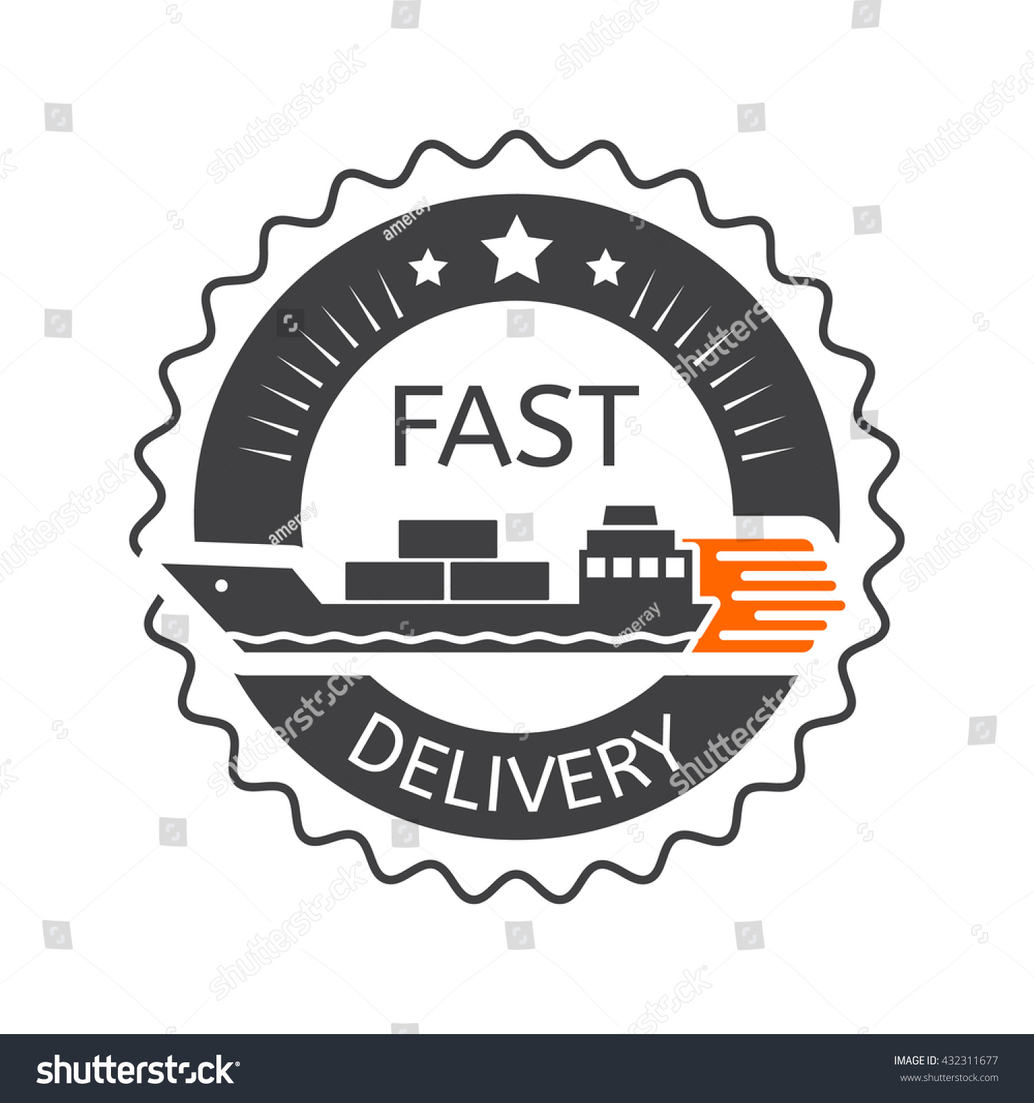 Fast Delivery Badge Shipping Transport Ship Stock Vector ...