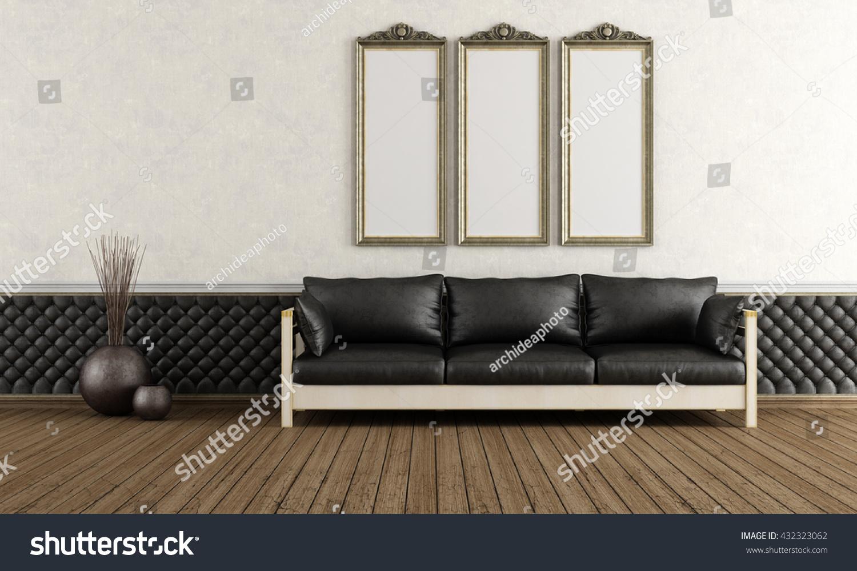 Black Leather Sofa Vintage Living Room Stock Illustration  ~ Vintage Black Leather Sofa