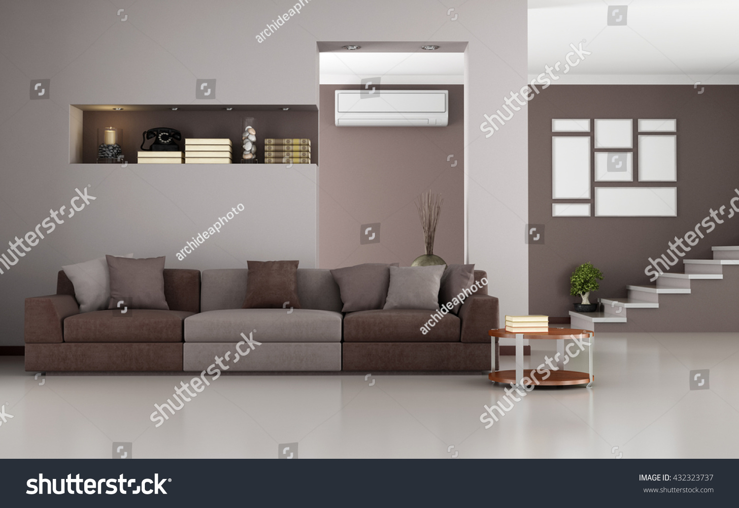 Beige And Brown Modern Living Room With Staircase And Air Conditioner   3d  Rendering