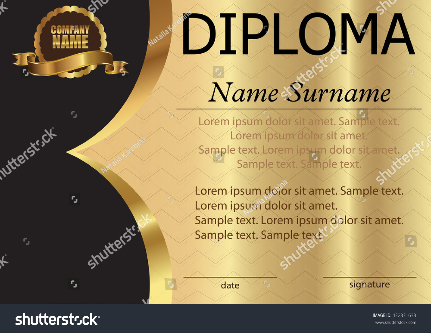 diploma certificate template on gold background stock vector