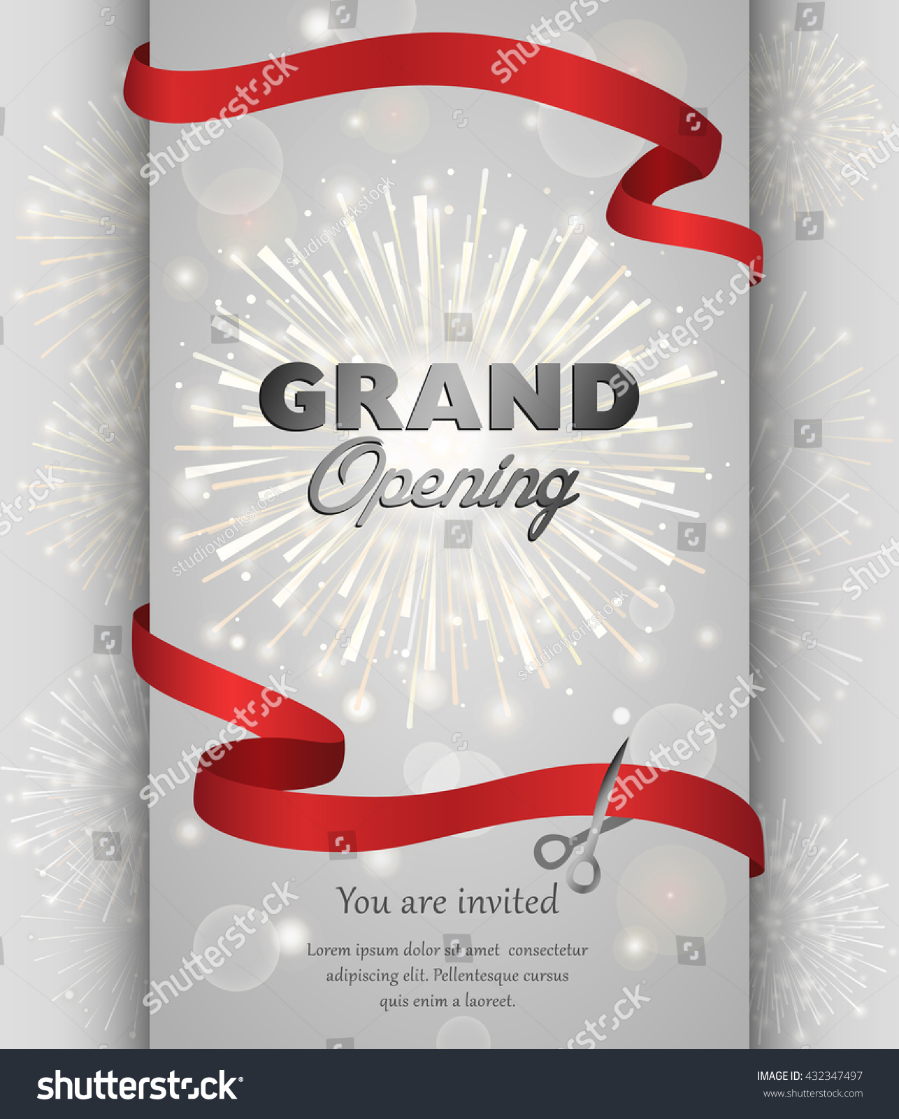 Grand opening celebration banner design vector illustration Ribbon cutting ceremony