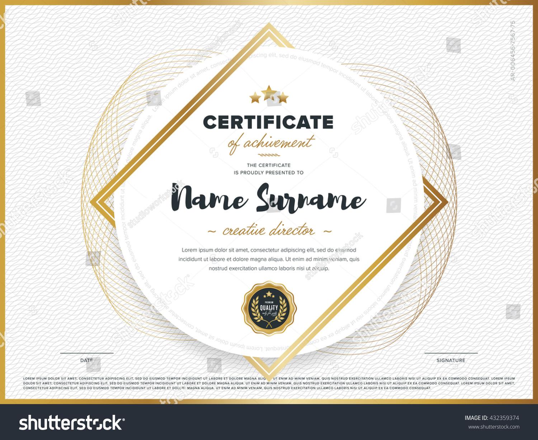 Certificate Vector Template Design Diploma Design Stock Vector ...