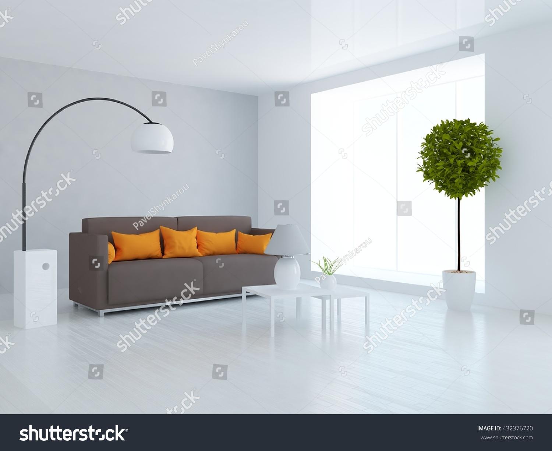 White Room Brown Sofa Living Room Stock Illustration 432376720 ...