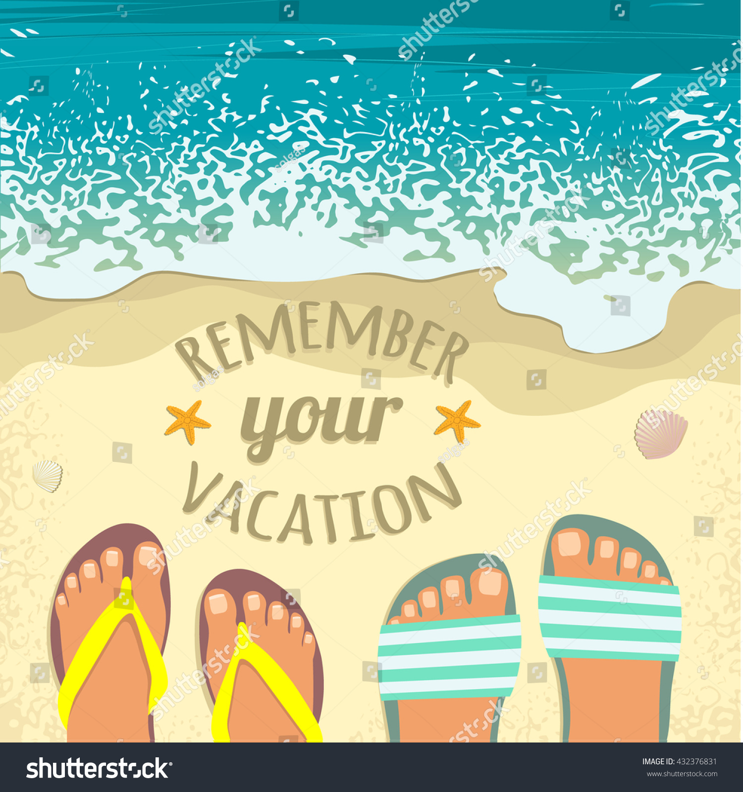 Summer Background With Sea Sand Beach Pair Of Feet In Sandals And Place For