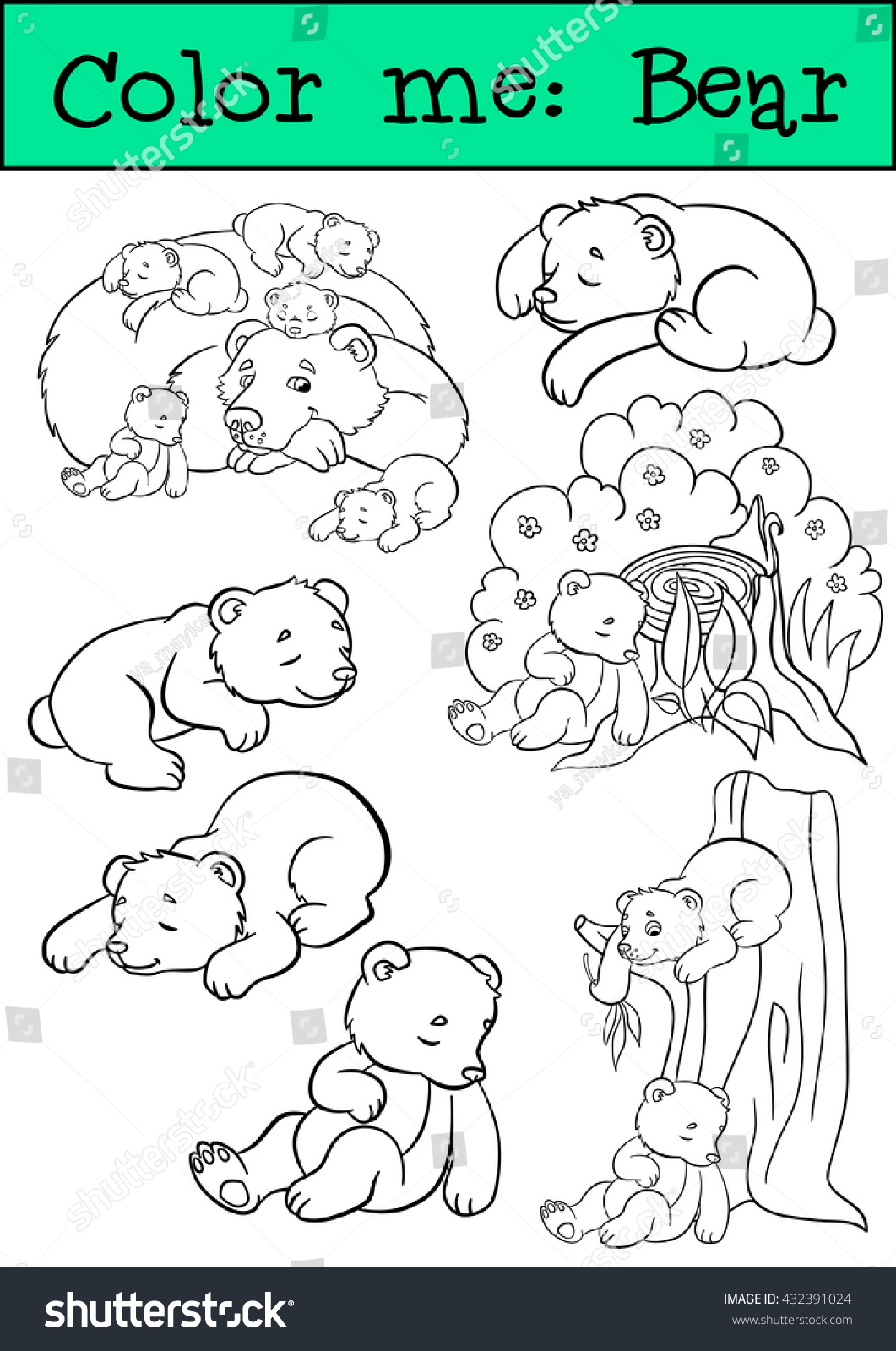 Coloring pages wild animals bears daddy stock vector royalty free