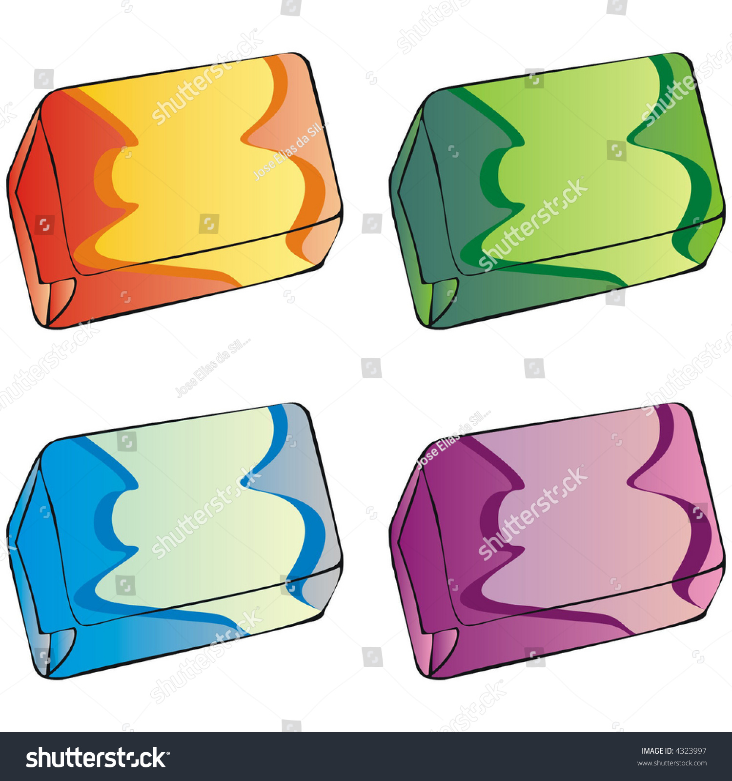 Art Illustration Bubble Gums Caramels Packages Boxes