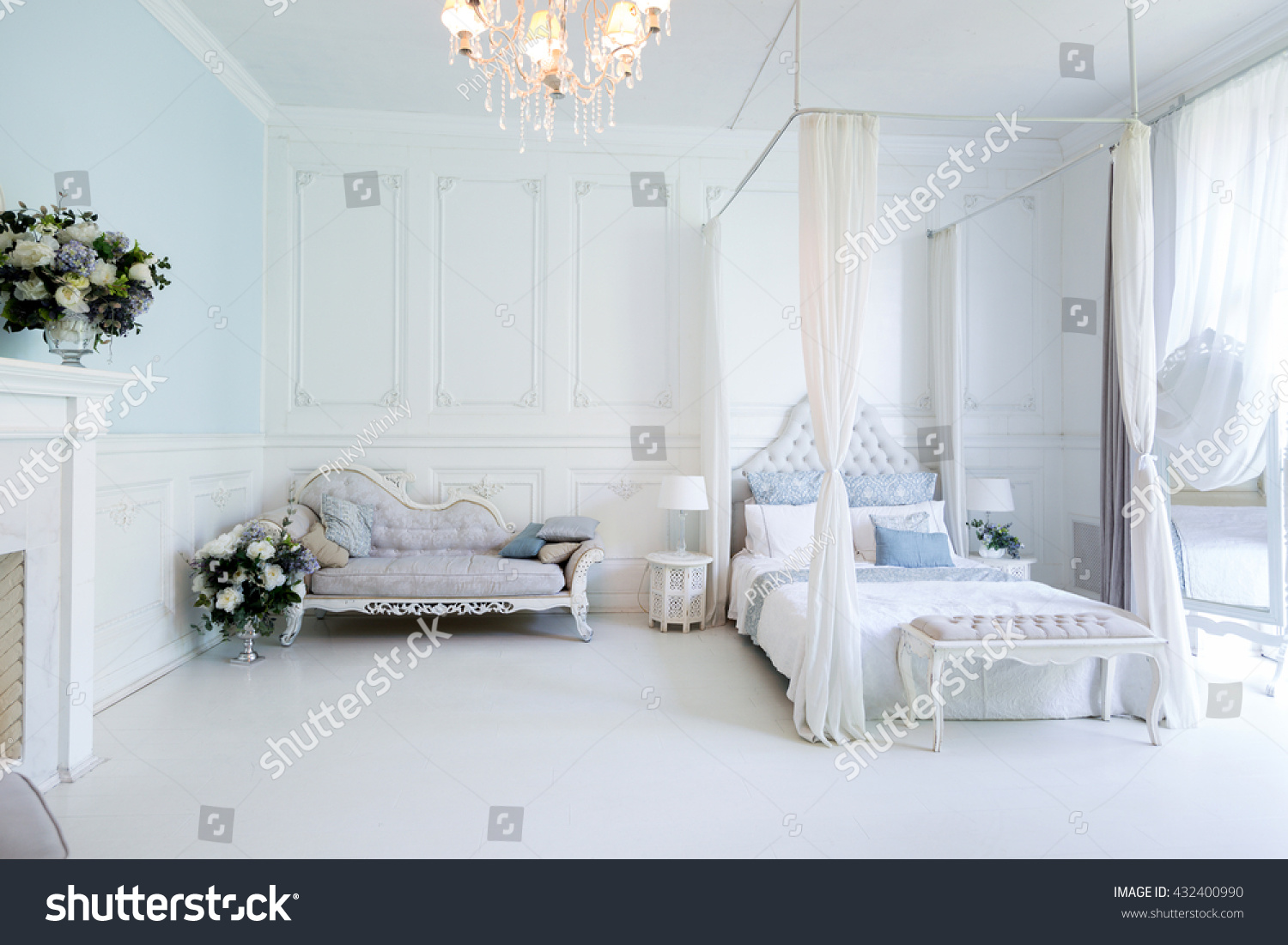 Bright Clean Stylish Interior Bedroom Living Stock Photo (Royalty ...