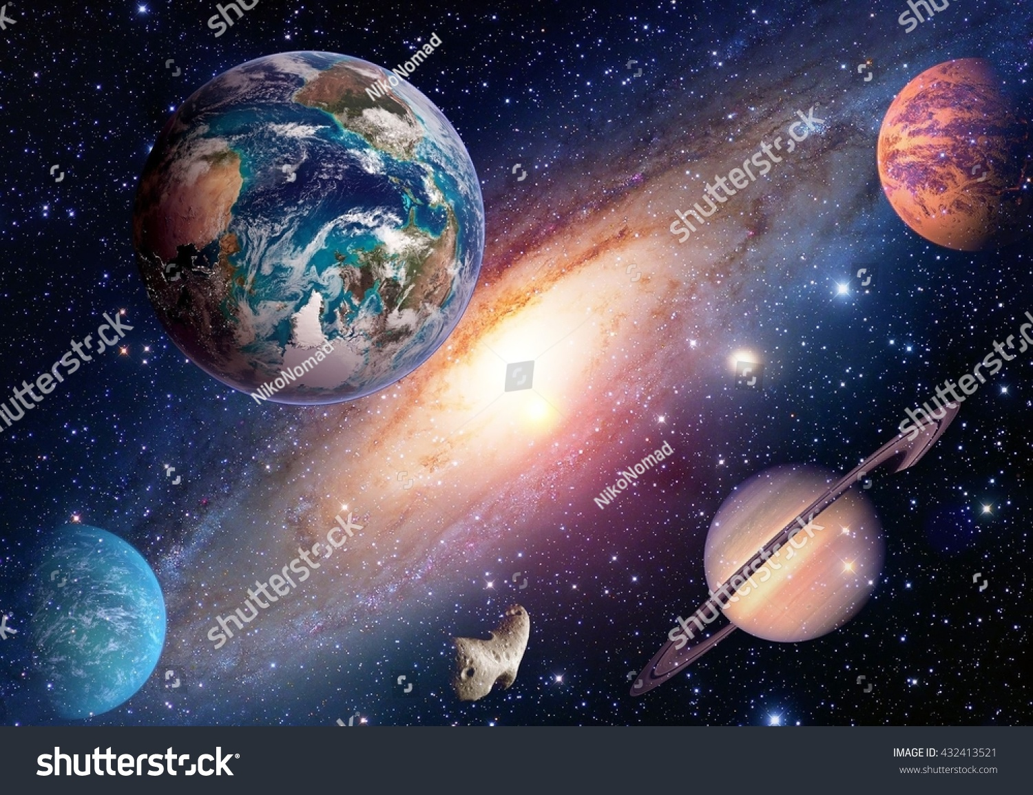 Space Planet Galaxy Milky Way Earth Stock Photo 432413521 ...