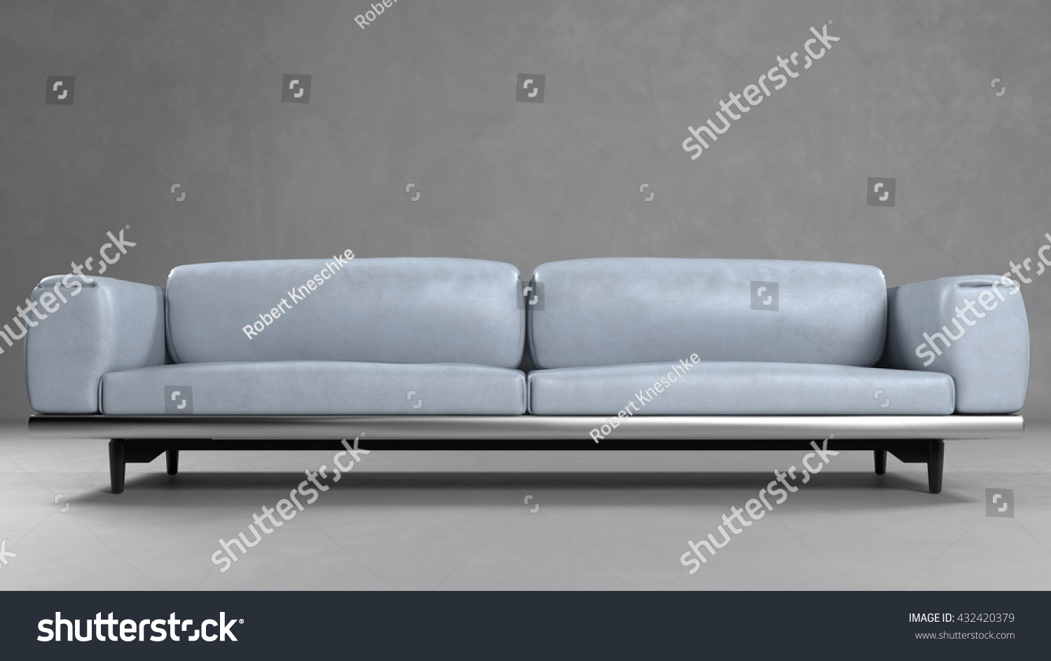 grey leather sofa in front of a concrete wall 3d rendering