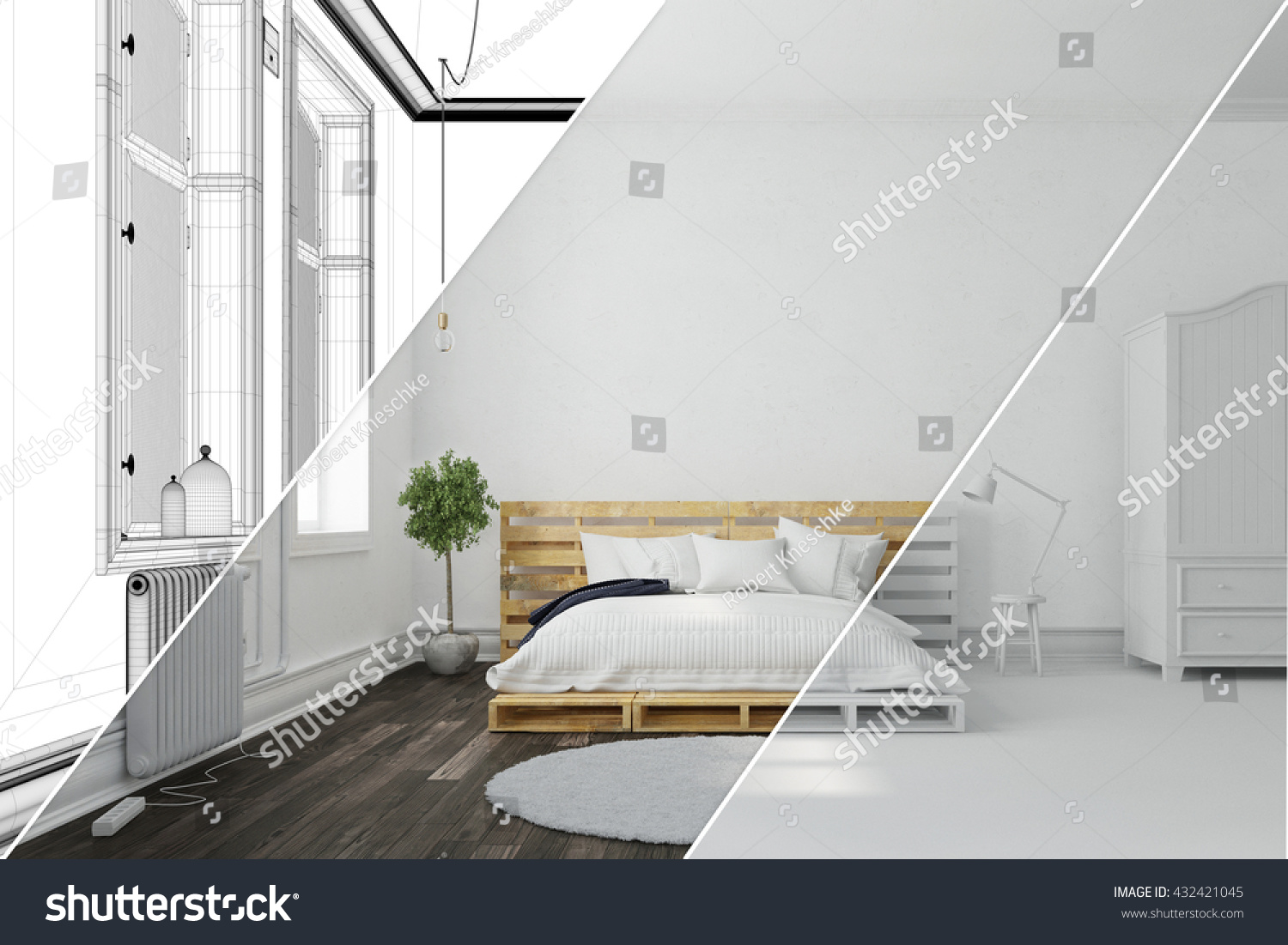 Planning Of Bedroom With 3D Room Planner With Wireframe Mesh And 3D  Rendering