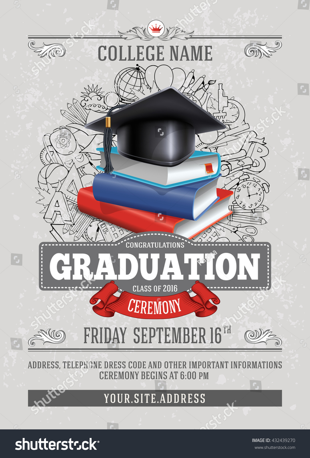 vector template announcement invitation graduation ceremony stock vector 432439270 shutterstock. Black Bedroom Furniture Sets. Home Design Ideas
