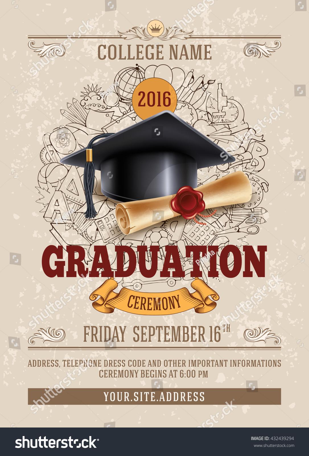 Vector Template Announcement Invitation Graduation Ceremony Stock ...