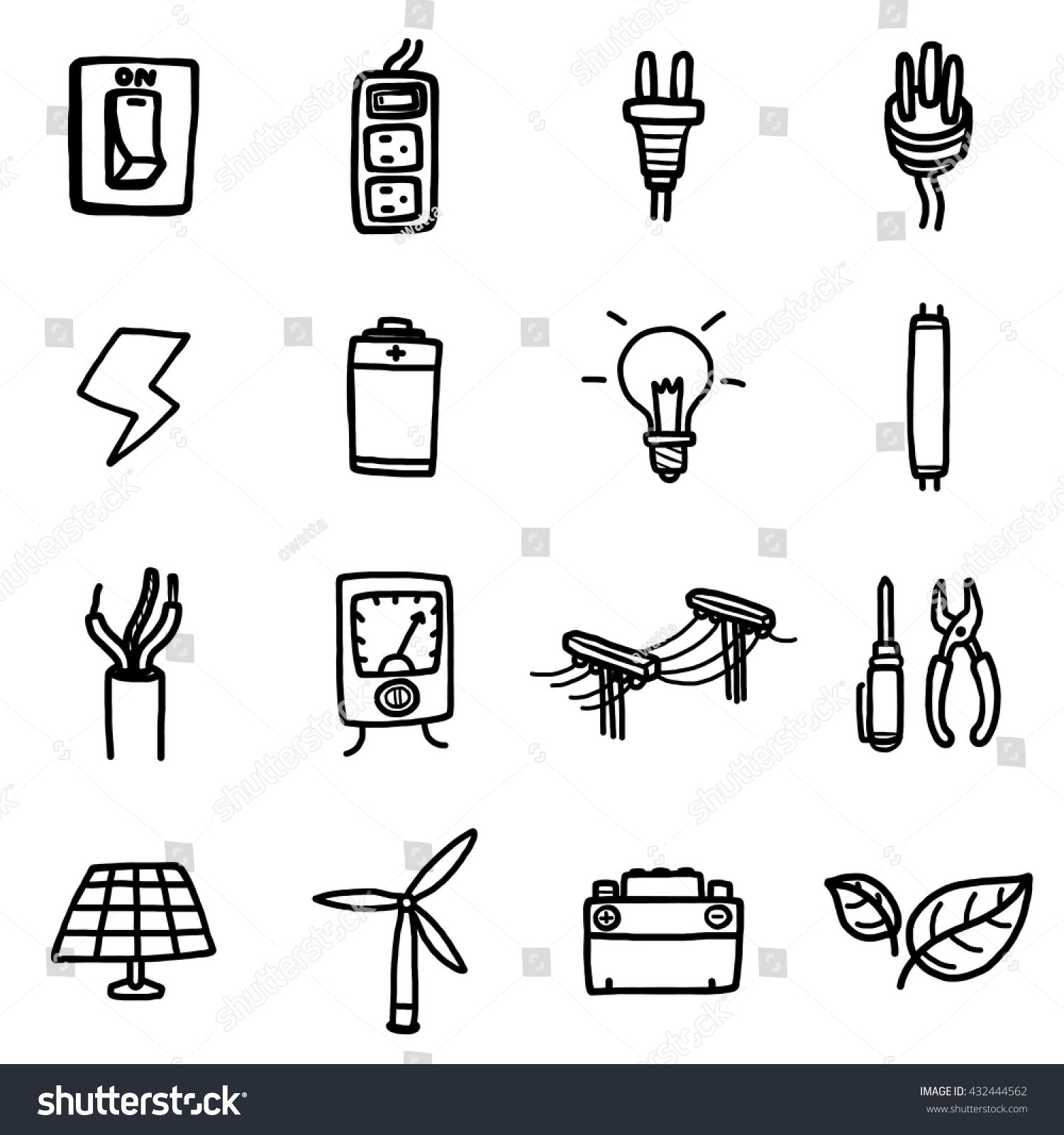 power electrical objects icons set cartoon stock vector
