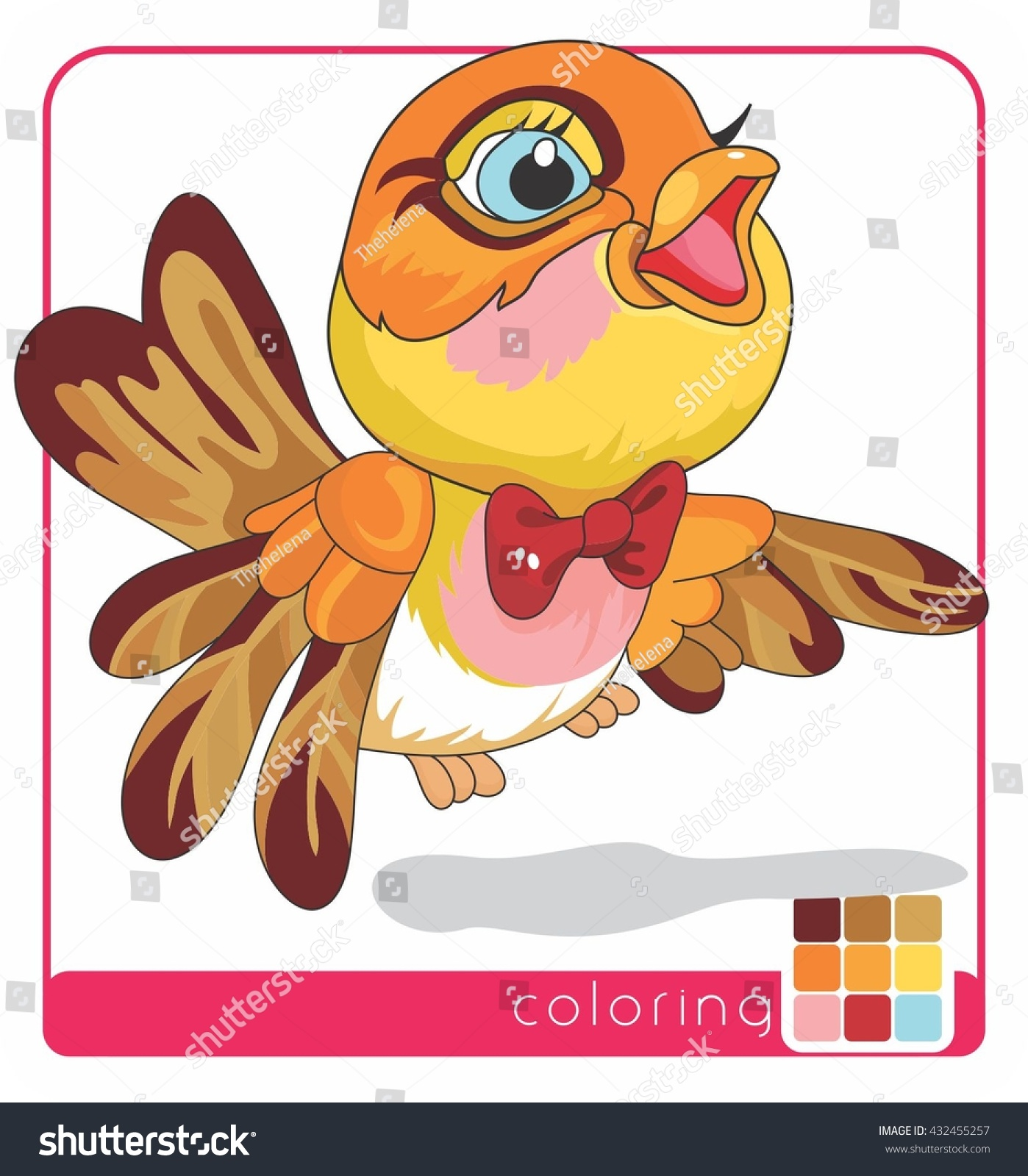Beautiful Bird Baby Bird Coloring Pages Stock Vector (Royalty Free ...