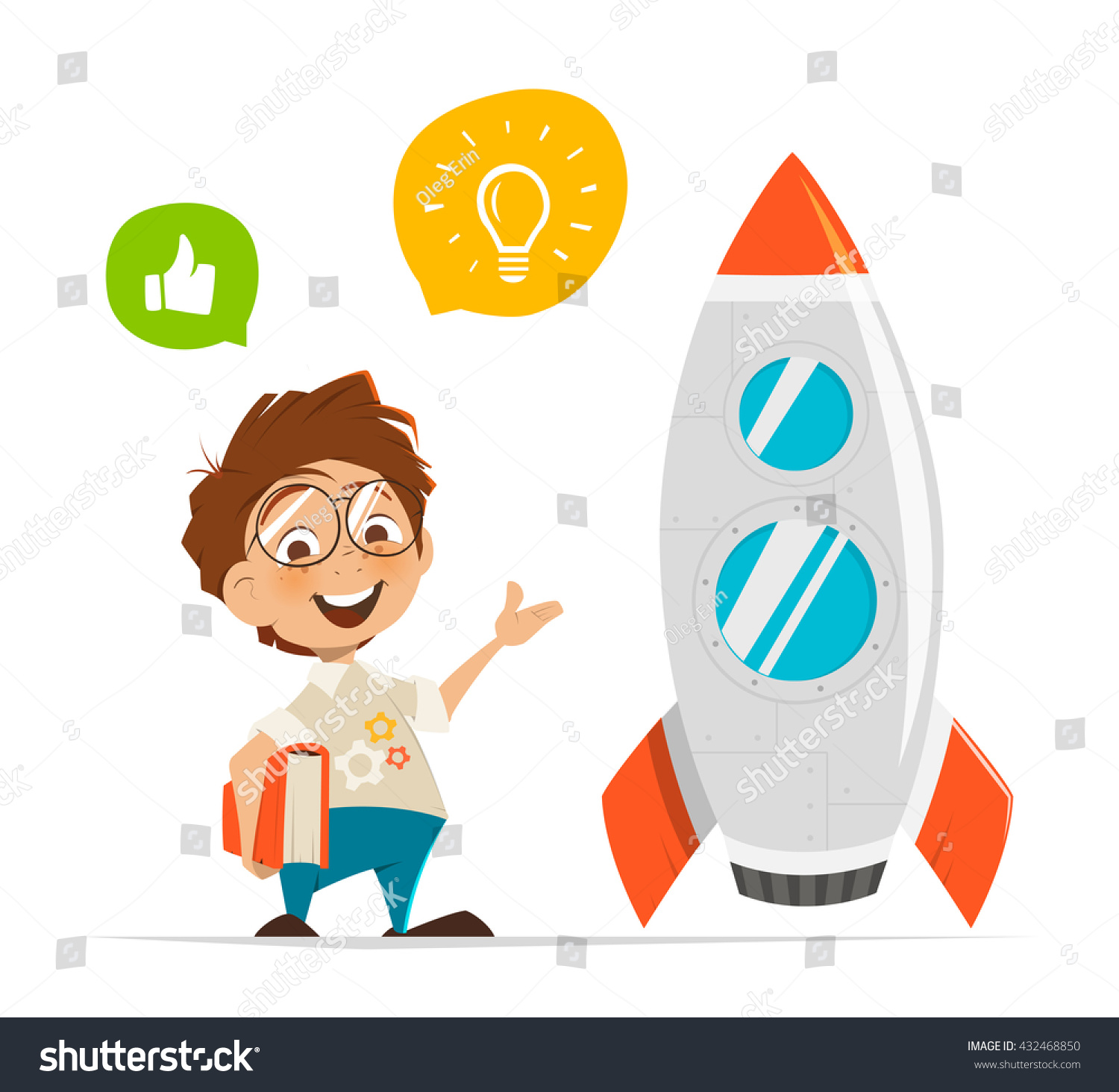 vector character illustration smart kid inventor stock vector
