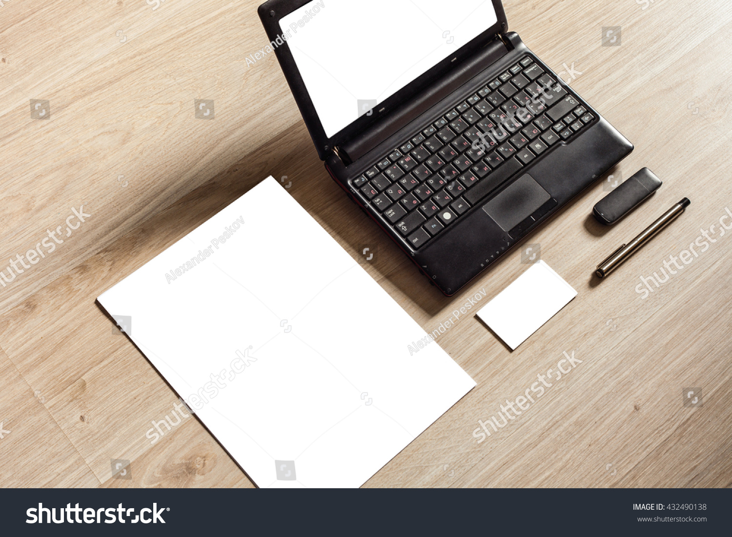 Office Desk Set Mock Template Paper Stock Photo (Download Now ...