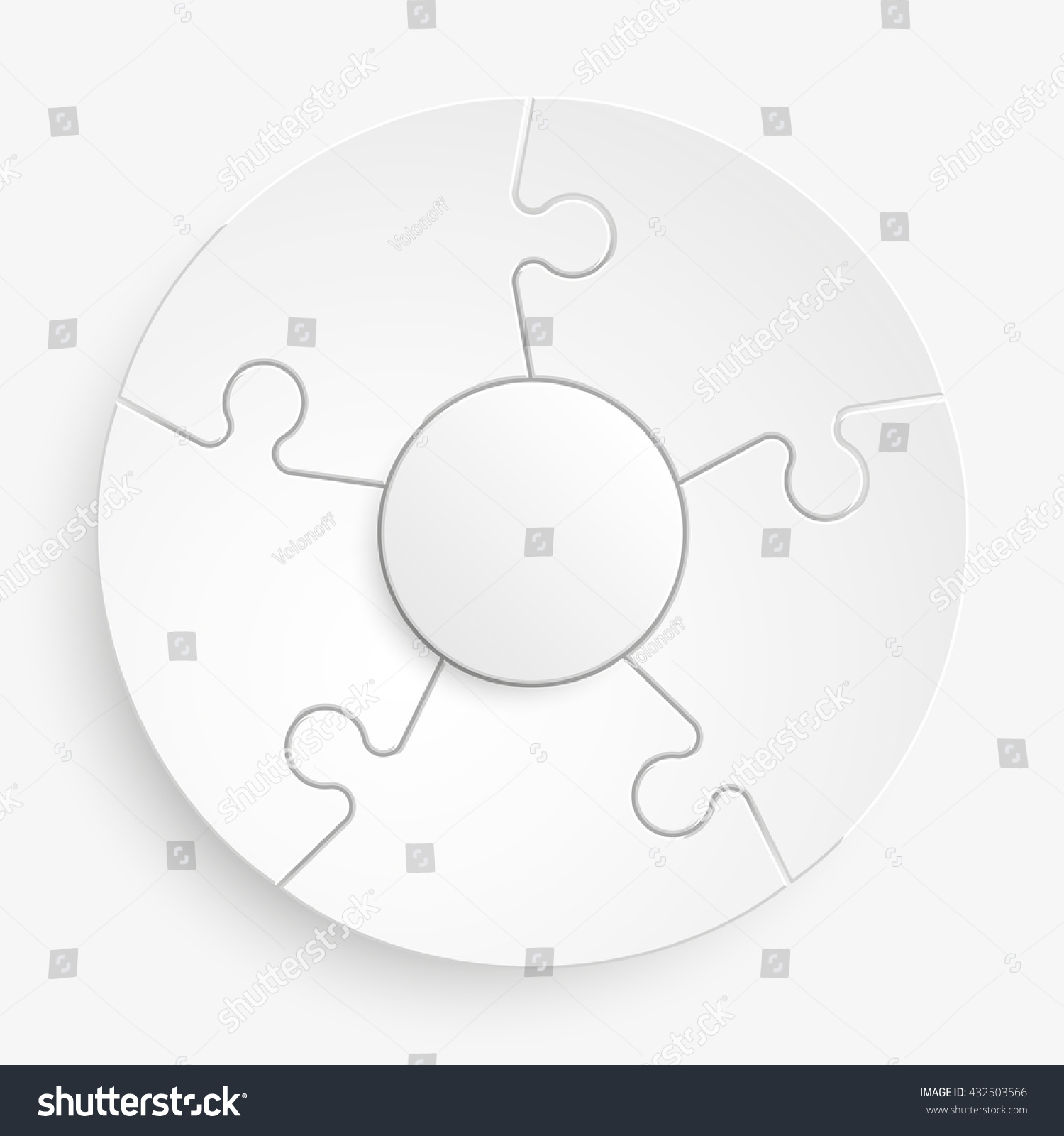 five piece flat puzzle round infographic stock illustration