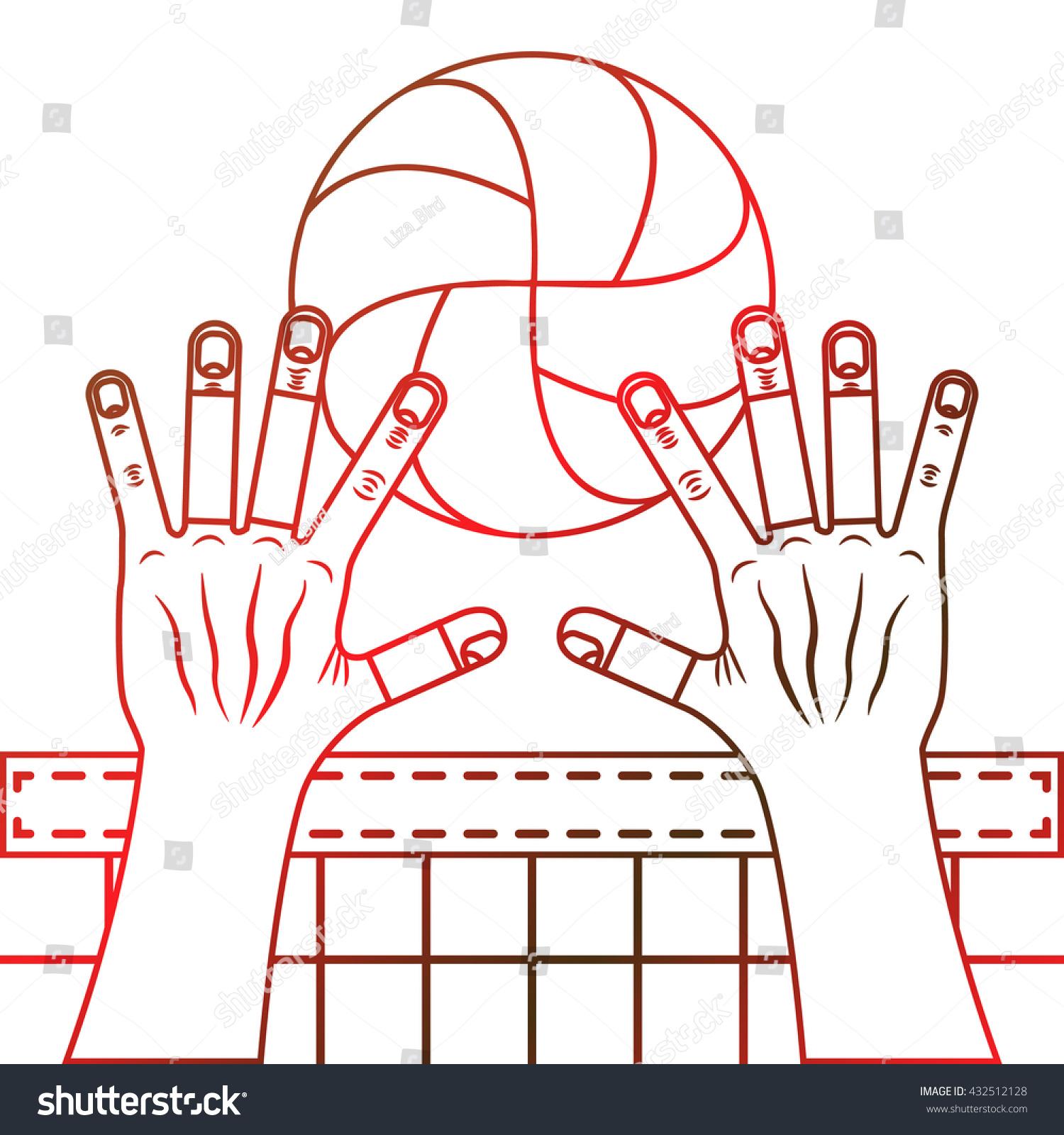 Volleyball Block Valleyball Ball Hands Net Stock Vector Royalty Free 432512128
