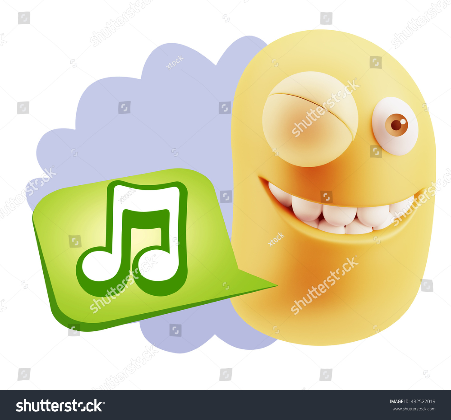 3 D Rendering Smile Character Emoticon Expression Stock Illustration
